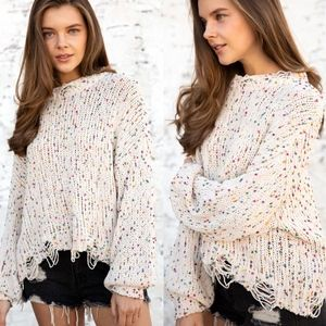 SHELLE Distressed Knit Sweater - CREAM